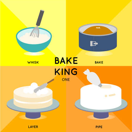cooking ware: baking cake process demonstrates in 4 steps till you get beautiful creamy butter cake. Illustration