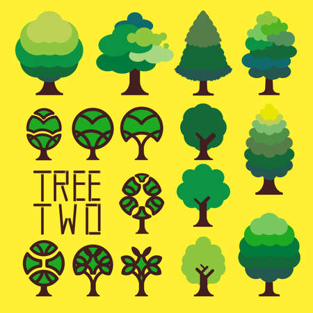 vascular tissue: Graphic of simple trees, variety of green colour for leaves create green atmosphere.