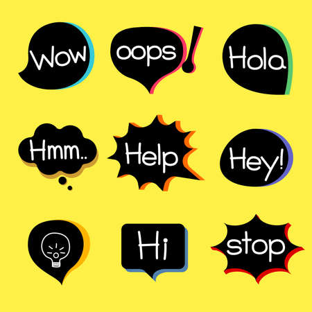props: different style speech bubble graphics with popular expression words.