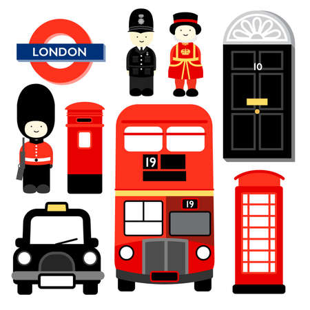 telephone cartoon: Popular icons of LONDON, the capital city of ENGLAND or united Kingdom.