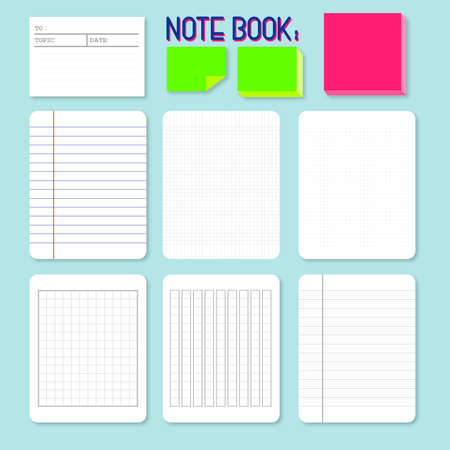 note book: different style of paper for writing or note, such as line, graph, asian style writing paper, sticky note.