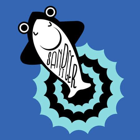 wasserwelle: Sandtigerhai liegt direkt am Meer liegen schien Wasserwelle.