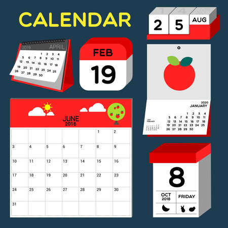 formats: Useful popular calendar formats can be an icon on computer or printable. Illustration