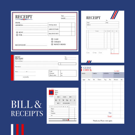 INVOICE: Various types of bill and receipts formats in formal design are gathered and ready to use.