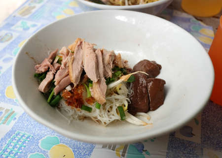 popular soup: Popular lunch menu in bangkok Braised duck noodle with out soup.