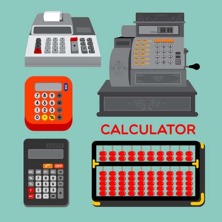 caja registradora: Los diferentes tipos de calculadoras, �baco, calculadora electr�nica o la pantalla de la caja registradora en el fondo azul.