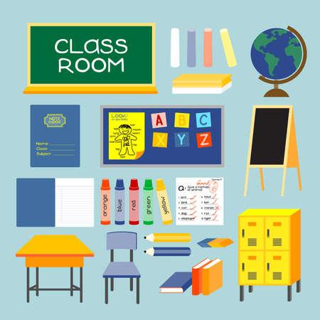 salle classe: Salle de classe style ancien des �quipements de la salle de classe, les meubles et les choses sont recueillies dans cette image.
