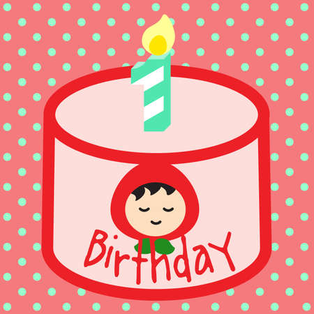 1st birthday: 1st BIRTHDAY CAKE Sweet pink birthday cake decorated with cream and girl with red hood sugar top with number 1 candle.