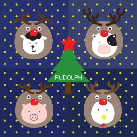 santaclause: RUDOLPH farm animals costumed with reindeer celebrate around christmas tree.