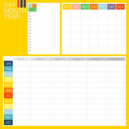 day planner: 3 types of planner, day planner, month planner and year plan, they are designed in simply style with clean and clear style. These planner formats are ready to use for every year.