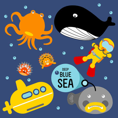 swell: Aquanaut travel in the sea by yellow submarine discover giant whale, orange octopus, pufferfish. Illustration