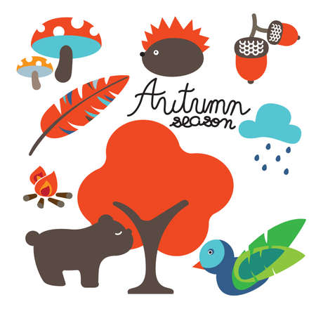 rainy season: Autumn icon indicate transition time from summer to winter. Harvest season is coming.