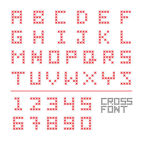 cross stitch: cross stitch fonts and numbers are ready to use as font, text line or head line.