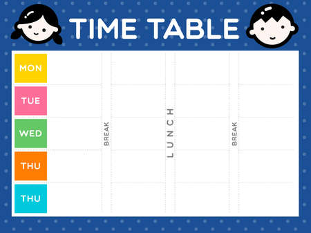 classes schedule: Instant cute class time table is ready to print for the first day of semester start.