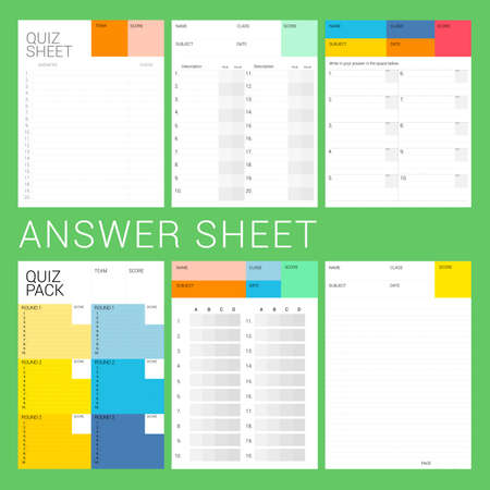 explanation: 6 types of answer sheet ready to print for quiz night, examination, explanation, test.