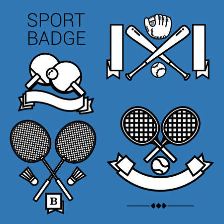 scholastic: 4 popular sport emblems, tennis, table tennis, badminton and baseball in black and white style on the blue background.