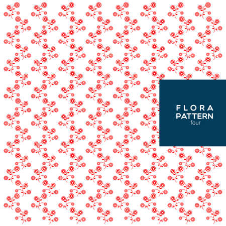 patter: the red flora patter on the white background. Illustration