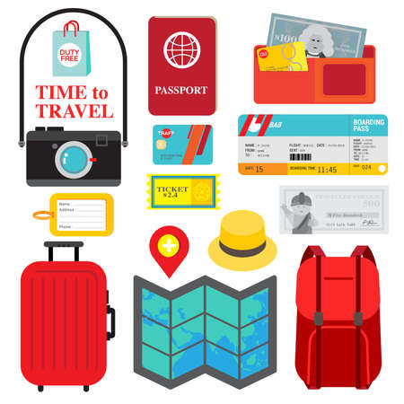 vocation: Collection of necessary things for trip is display as  travel packing checklist. Colorful icons in red, yellow and blue are fit to people who is ready for vocation.