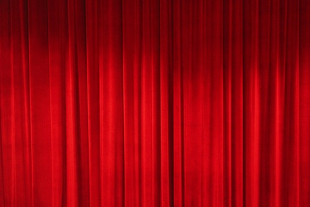 red curtains: closed curtain of a theater