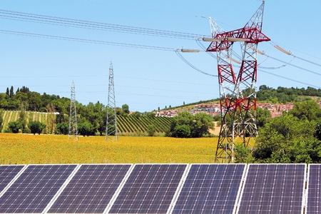 reproductive technology: campo solar de panel de girasoles y torre el�ctrica