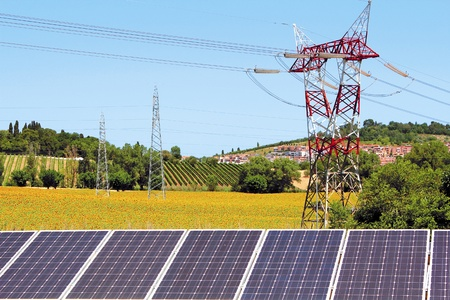 panel solar field of sunflowers and electric pylon Standard-Bild