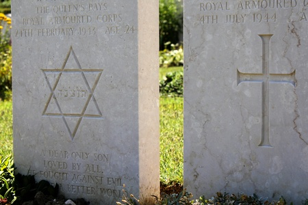 jewish and christian views of tombstones side by side Editorial