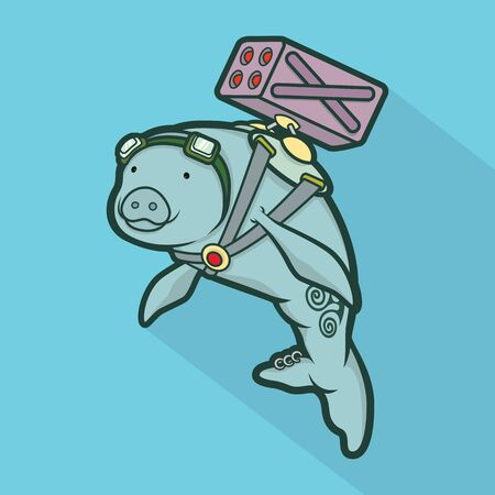manatee: Manatee and Rocket launcher,vector illustration