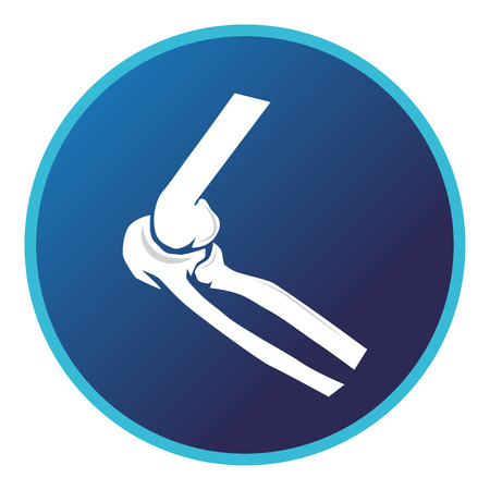 Elbow bone and joint icon . Vector flat design for radiology orthopedic research hospital for body joints, orthopedic, sport medicine, diagnostics or corrective therapy. Vector illustration