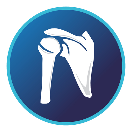 Shoulder bone icon. Vector flat design for radiology orthopedic research hospital for body joints, orthopedic, sport medicine, diagnostics or corrective therapy. Vector illustration Çizim