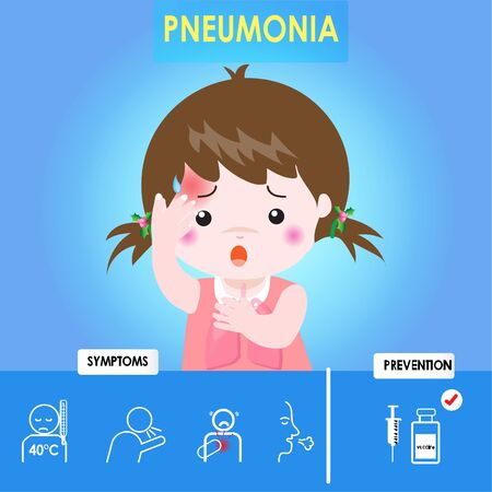 Infographics of pneumonia. Kid girl pneumonia with cough and red skin, Health care cartoon character. Prevention and symptom of disease. Cause of infection, diagnostics. Vector illustration