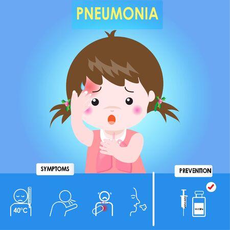 Infographie de la pneumonie. Pneumonie de fille d'enfant avec la toux et la peau rouge, personnage de dessin animé de soins de santé. Prévention et symptôme de la maladie. Cause de l'infection, diagnostic. Illustration vectorielle