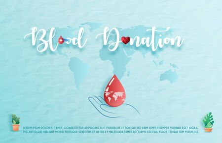 Blood donation design. Creative donor poster. Blood Donor banner. Red drop. Donation volunteer. Blood donation medical poster. Save human life concept. EPS10 Illustration