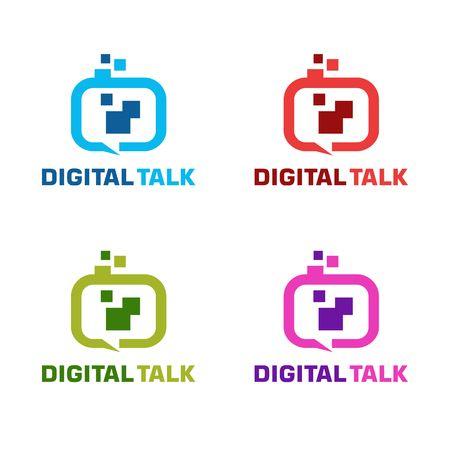 Digtal talk logo with variation color