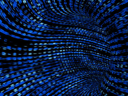 light at the end of the tunnel: Blue and black binary tunnel, 3d render