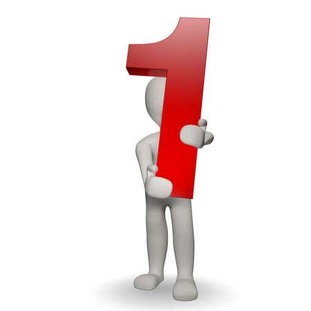 numero uno: 3D numero umani charcter tenendo uno, rendering 3d, isolato su bianco