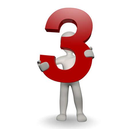 trois: 3D nombre humaines charcter la tenue de trois, render 3d, isol� sur blanc