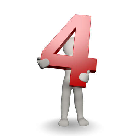 čtyři lidé: 3D Human charcter držení číslo čtyři, 3d render, izolovaných na bílém