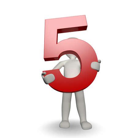3D Human charcter houden van nummer vijf, 3D render, geïsoleerd op wit Stockfoto