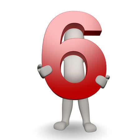 3D Human charcter houden van nummer zes, 3D render, geïsoleerd op wit Stockfoto