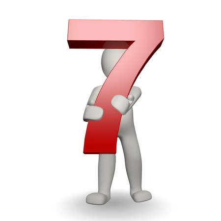 seven: 3D Human charcter holding number seven, 3d render, isolated on white