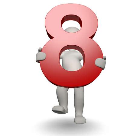 3D menselijke charcter houder nummer acht, 3d render, geïsoleerd op wit Stockfoto