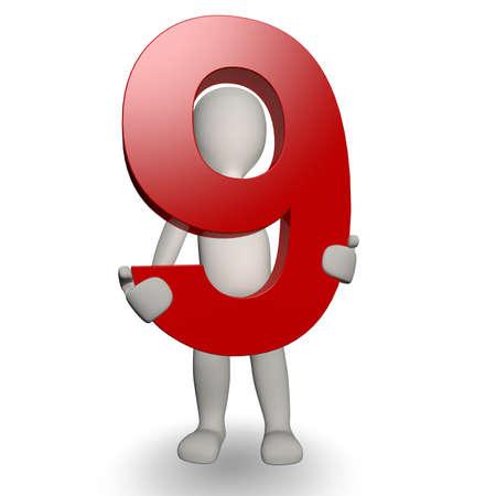 numero nueve: 3D charcter humana sosteniendo número nueve, procesamiento 3d, aislado en blanco