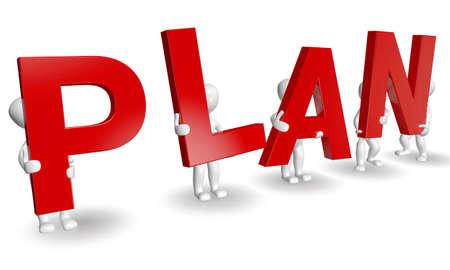 3D mensen het vormen van rode PLAN woord, render 3d op wit wordt geïsoleerd