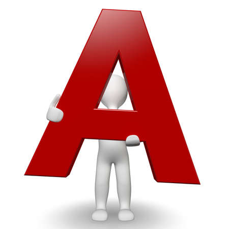 3D Human charcter holding red letter A, 3d render, isolated on white