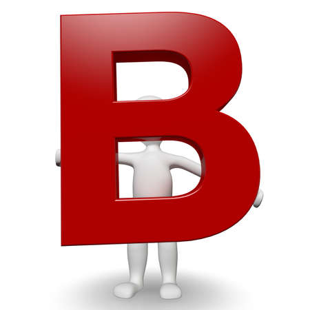 3D Human charcter holding red letter B, 3d render, isolated on white photo