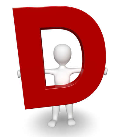 3D Human charcter holding red letter D, 3d render, isolated on white