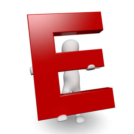 3D Human charcter holding red letter E, 3d render, isolated on white photo