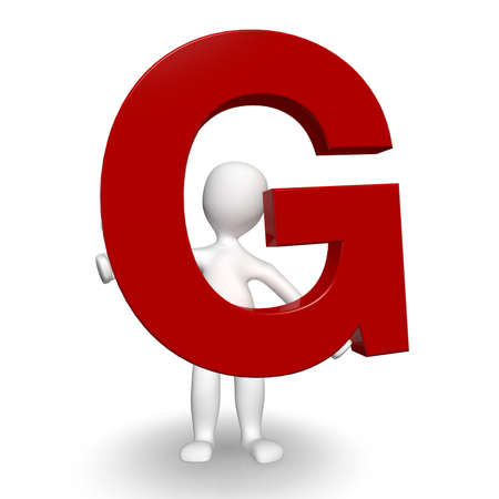 3D Human charcter holding red letter G, 3d render, isolated on white photo