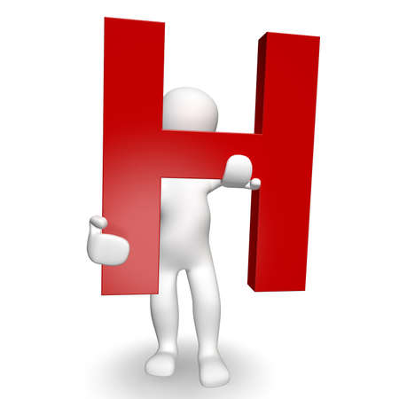 3D Human charcter holding red letter H, 3d render, isolated on white