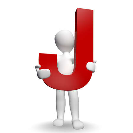 3D Human charcter holding red letter J, 3d render, isolated on white